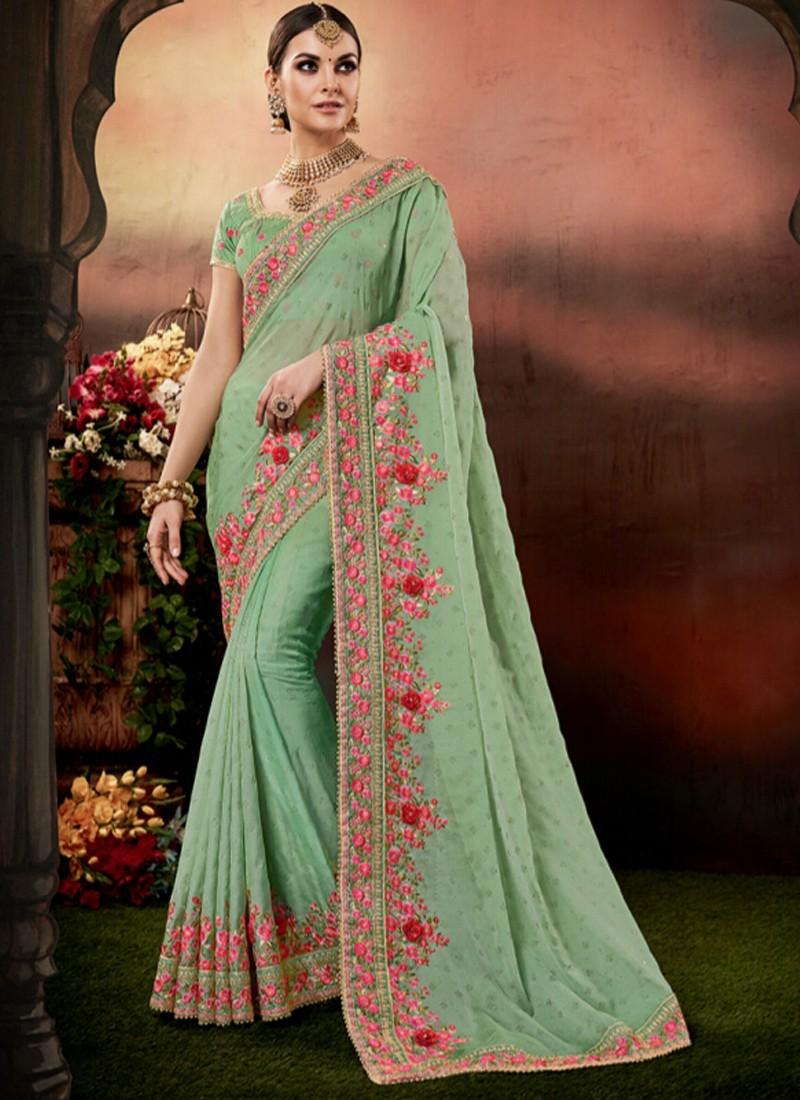 Designer Saree with decent Border And Heavy Work Blouse Piece