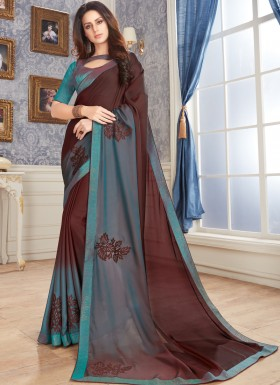 Designer Saree With Decent Diamond Work.
