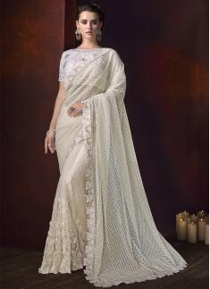 Designer Saree With Digital Net Fabric And Designer Blouse Piece