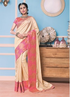 Designer saree with Excellent work and cream and light pink color