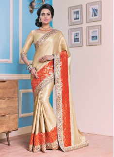 Designer saree with Excellent work and cream and orange color