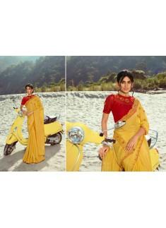 Designer Saree With Fancy Work Blouse Piece