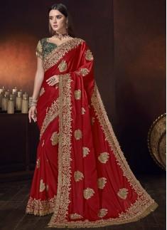Designer Saree With Pure Satin Fabric And Designer Blouse Piece