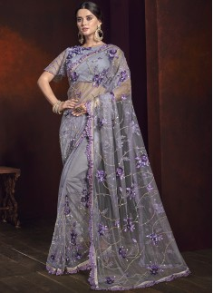 Designer Saree With Digital Net Fabric And Designer Blouse Piece