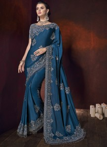 Designer Saree With Pure Satin Fabric And Designer Blouse Piece
