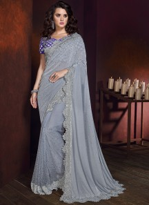 Designer Saree With Korean Fabric And Designer Blouse Piece