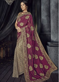 Designer Saree With Pure Satin Pallu And Contrast Heavy Work Blouse