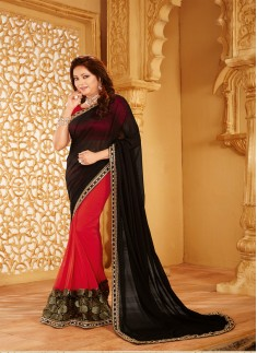 Designer saree with zari work and black and red color