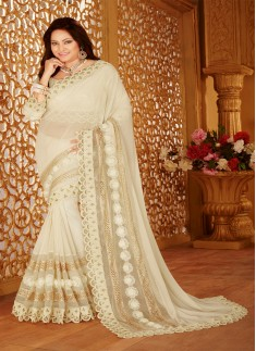 Designer saree with zari work and cream color
