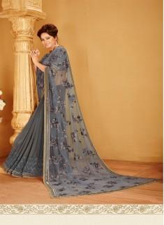 Designer saree with zari work and grey color