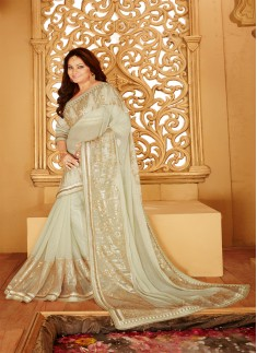 Designer saree with zari work and light blue color