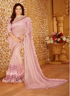 Designer saree with zari work and light pink color