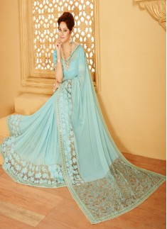 Designer saree with zari work and turquoise color