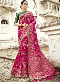 Designer Silk Saree With Weawing Designs