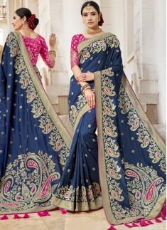 Designer Silk Saree With Weawing Designs
