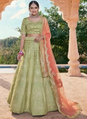 Designer Soft Silk Lehenga Choli With Contrast Net Dupatta