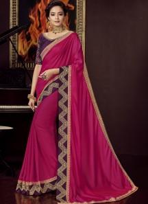 Designer Soft Silk Saree With Contrast Blouse Piece