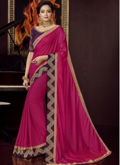 Designer Soft Silk Saree With Contrast Blouse Piec