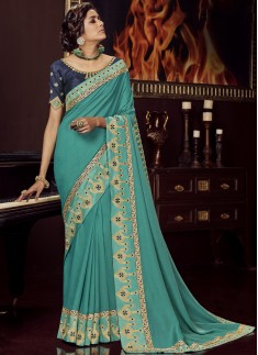 Designer Soft Silk Saree With Contrast Blouse Piece