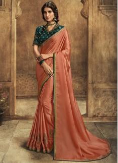 Designer Soft Silk Saree With Contrast Fancy Work Blouse Piece