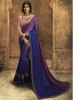 Designer Soft Silk Saree With Contrast Fancy Work Blouse Piece