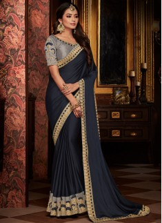 Designer Soft Silk Saree With Contrats Blouse Piece