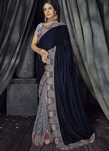 Designer Velvet Pallu Saree With Contrast Heavy Work Blouse