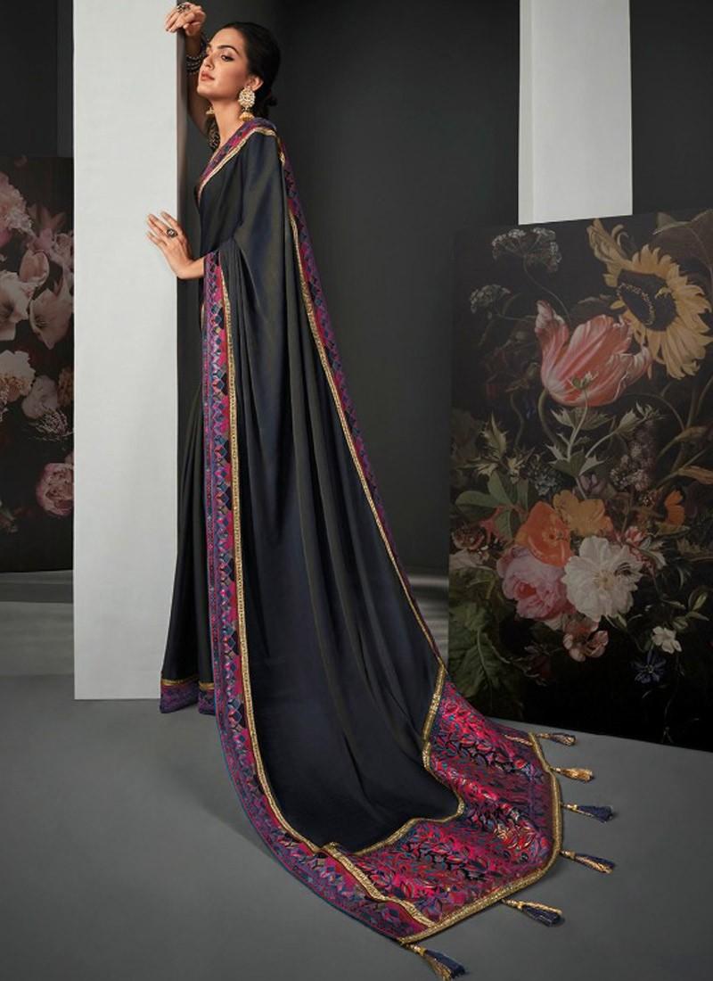 Designer weaving border saree with Fancy Blouse Piece