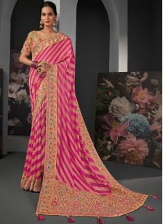 Designer weaving border saree with Fancy Blouse Pi