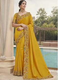 Different Cut Work Border Soft Silk Saree With Hea