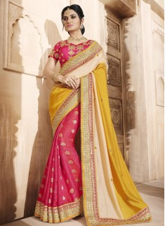 Dignified Hot Pink and Mustard Half N Half Designer Saree