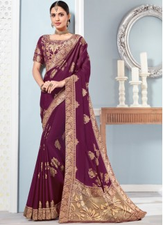 Elegant Banarasi Border Saree With Banarasi Blouse Piece