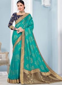Elegant Banarasi Border Saree With Contrast Banarasi Blouse Piece