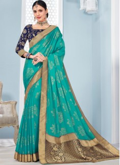 Elegant Banarasi Border Saree With Contrast Banarasi Blouse Piece