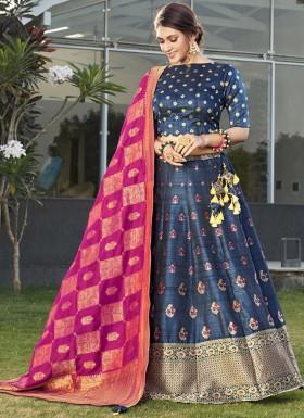Elegant Banarasi Silk Lehenga Choli With Contrast Dupatta