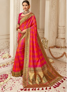 Elegant Daula Silk Saree With Heavy Blouse Piece