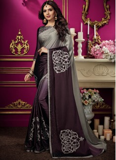 Elegant Diamond Work Saree With Digital Print Blouse Piece