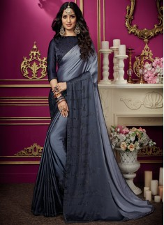 Elegant Diamond Work Saree With Contrast Diamond Work Blouse Piece