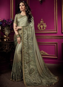 Elegant Diamond Work Saree With Digital Print Blouse Piece