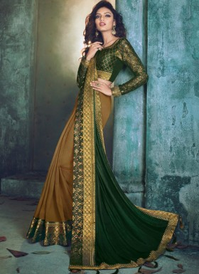 Elegant Half Half Saree With Fancy Blouse