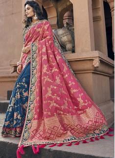 Elegant Look Banarasi Silk Saree With Heavy Blouse