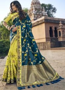 Elegant Look Banarasi Silk Saree With Heavy Blouse Piece