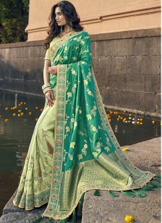 Elegant Look Banarasi Silk Saree With Heavy Blouse Piece