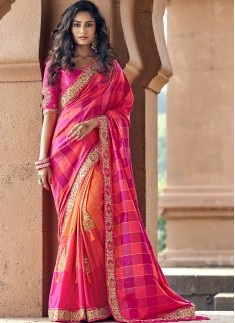 Elegant Look Banarasi Silk Saree With Heavy Blouse