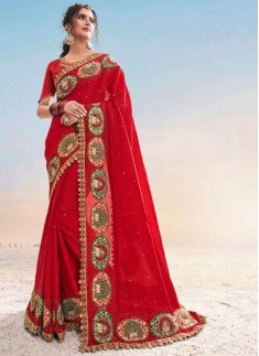 Elegant Look Red Colour Saree With Resham Jari Work In Border And Fancy Blouse Piece