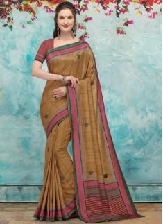 Elegant Look Silk Saree With Contrast Blouse Piece
