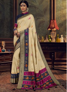 Elegant Look Silk Saree With Unique Diamond Work A