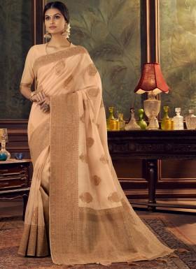 Elegant Look Silk Saree With Unique Diamond Work And Jari Weaving