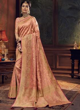 Elegant Look Silk Saree With Unique Diamond Work And Jari Weaving In All Over Saree