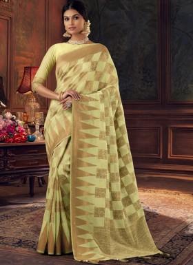 Elegant Look Silk Saree With Unique Diamond Work And Jari work In All Over Saree